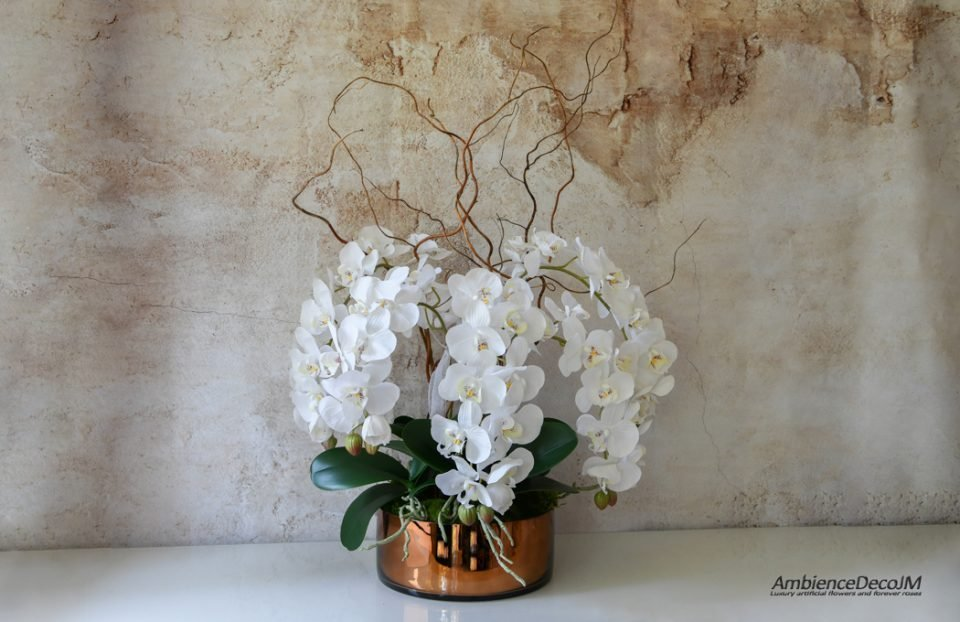 Real touch orchid and willow arrangement