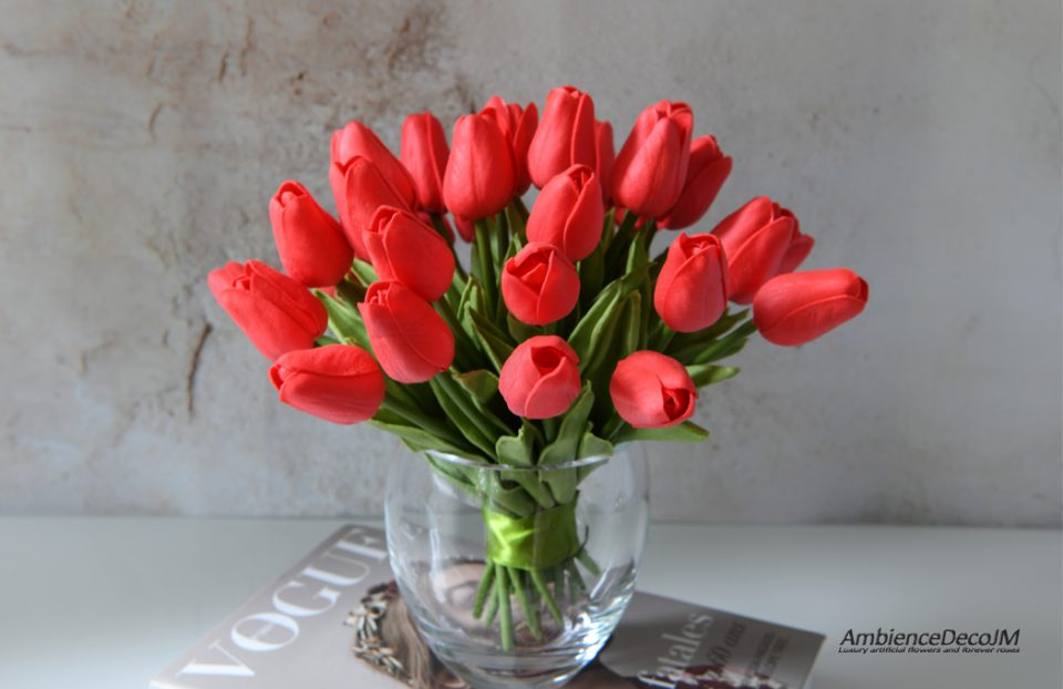 Real touch Red Tulips in a vase